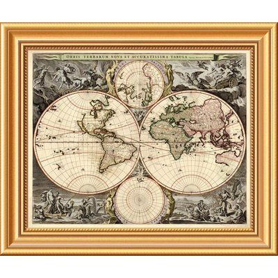 East Urban Home World Map Framed Graphic Art Print On Canvas
