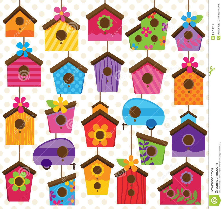 Grupo Do Vetor De Casas Bonitos E Coloridas Do Passaro Ilustracao