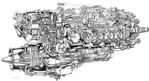 Napier Nomad 1 Diesel 2Stroke Aero Engine Motor Schematic Diagram – Intricate Engine Diagram