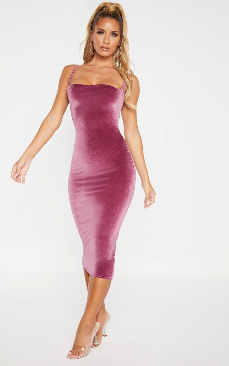 Plum Velvet Strappy Midi Dress Dresses Midi Dress Strappy Midi Dress [ 1180 x 740 Pixel ]