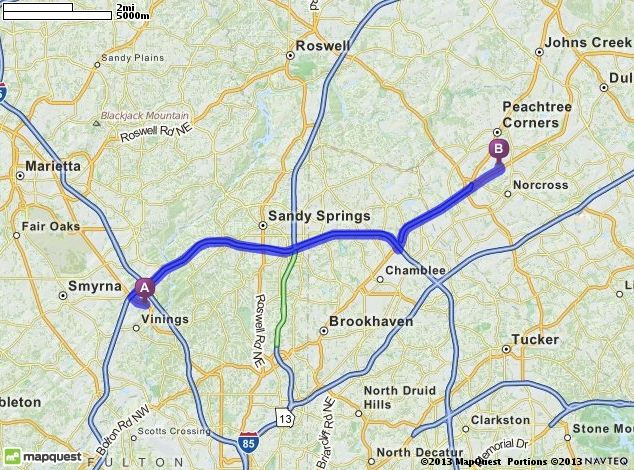 Hotel to TAPPI Driving Directions from 3200 Cobb Pkwy Atlanta
