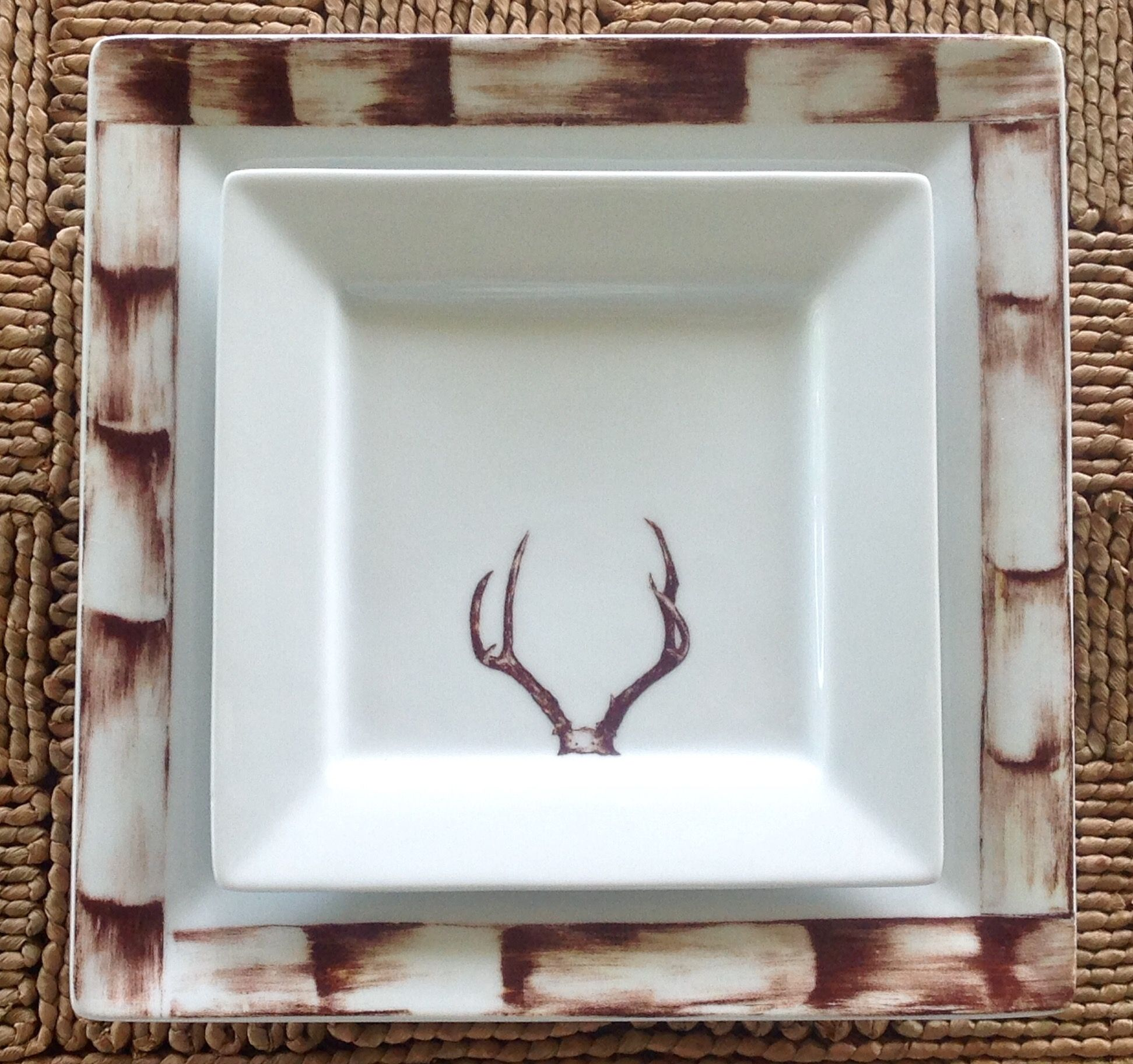 Bamboo Square Dinner Plate Antler Square Salad Plate & Bamboo Square Dinner Plate Antler Square Salad Plate | Dinnerware ...