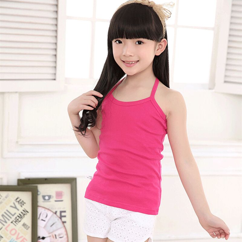 4d7c5b78e63dd New Kids Underwear Cotton Tanks Girls Top Solid Toddler Tee Sling ...