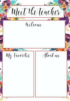 meet the teacher template floral