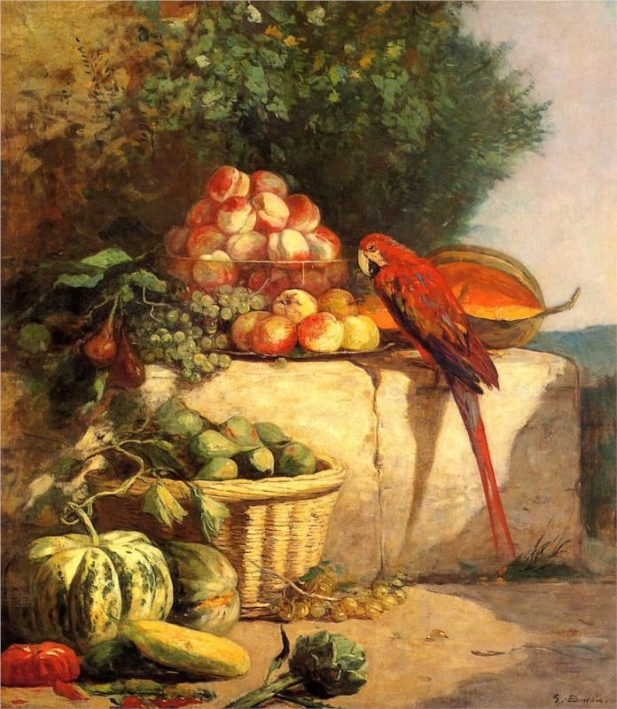 Eugene Boudin - Fruit and Vegetables with a Parrot, 1869