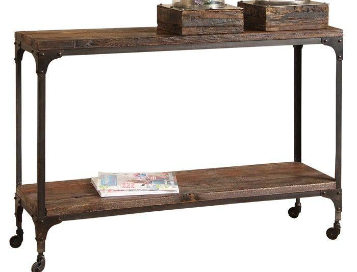 Konsollbord Recycled, brun. H:82cm B:120cm. Materiale: metall / resirkulert tre. A-MØBLER