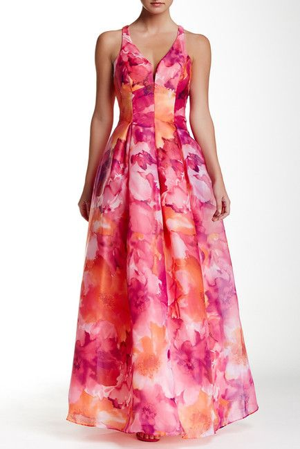 Marina Cross Back Printed Ballgown