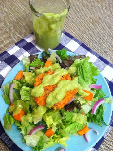 This Lemon Avocado Salad Dressing is light and flavorful and an easy way to add some healthy fats to your salad!
