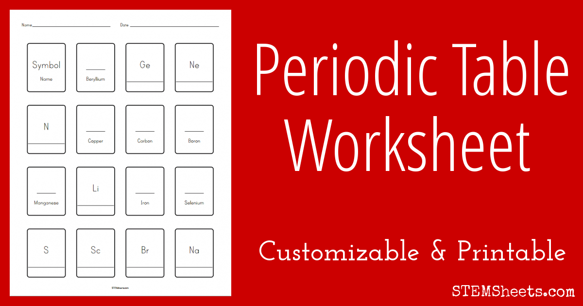 Fill In The Blank Periodic Table Of Elements Worksheet. Practice Recalling  Element