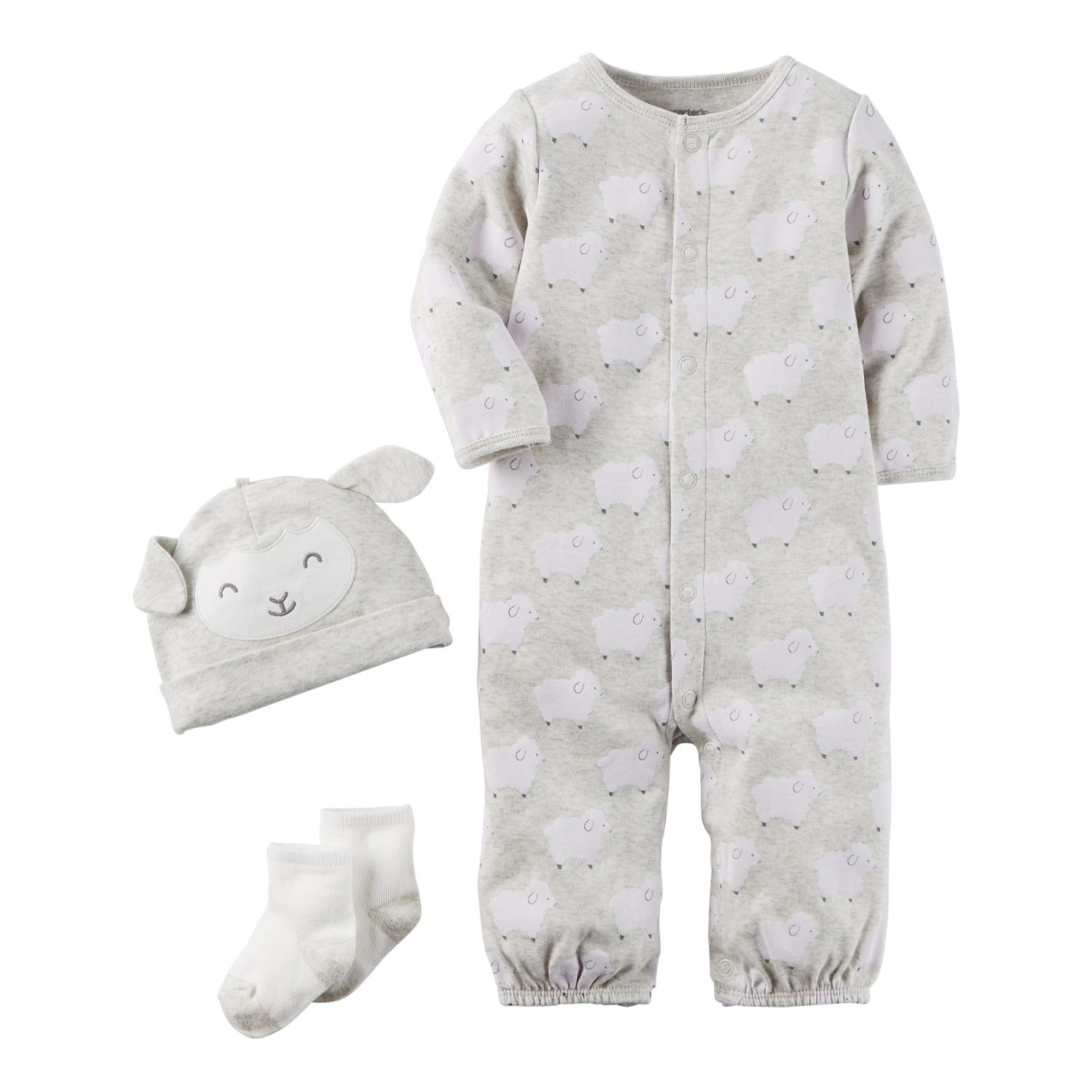2953d9239 Baby Carter's 3-pc. Lamb Babysoft Take-Me-Home Coverall, Hat & Socks Set