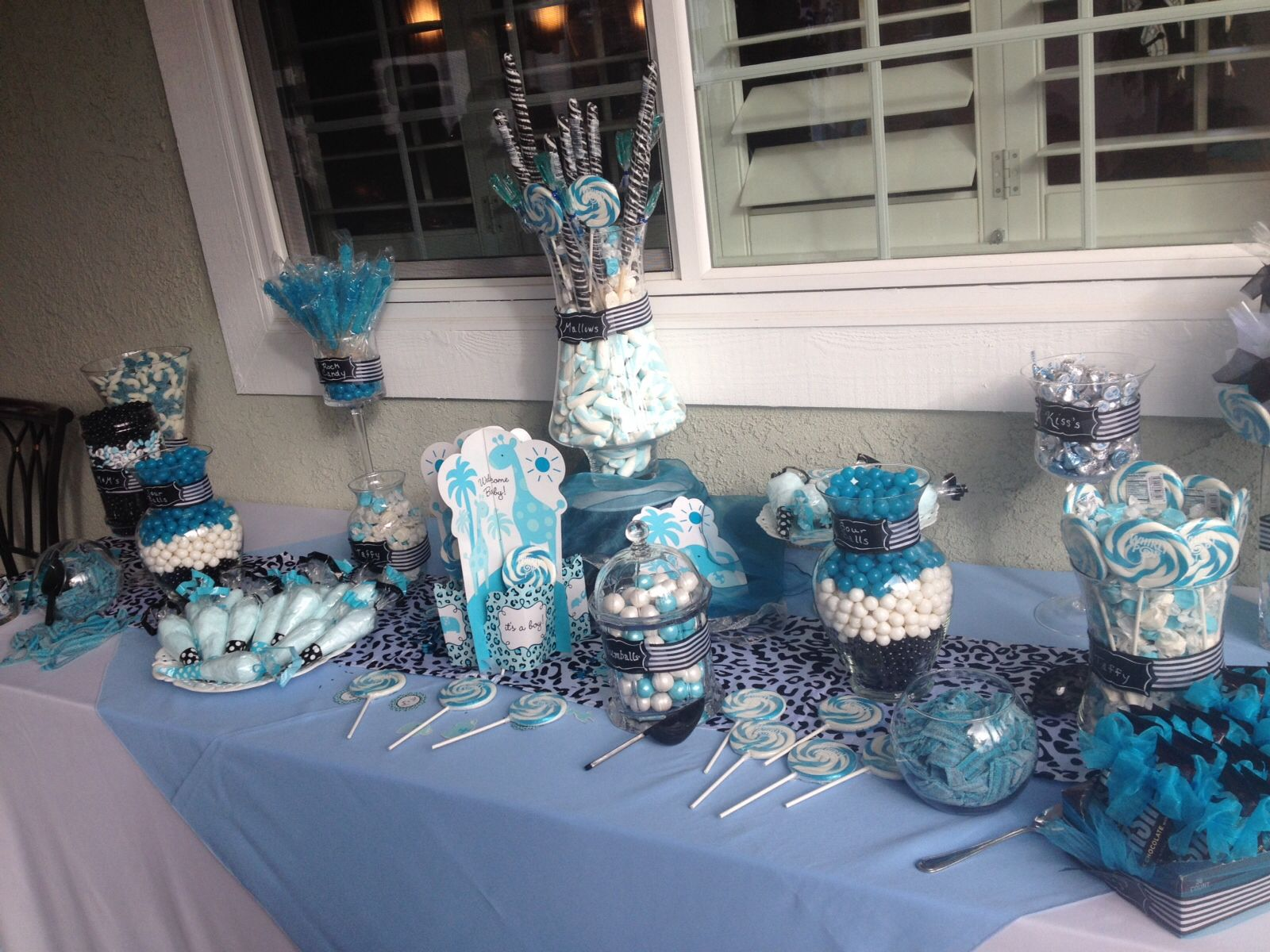 blue black and white candy bar from my baby shower
