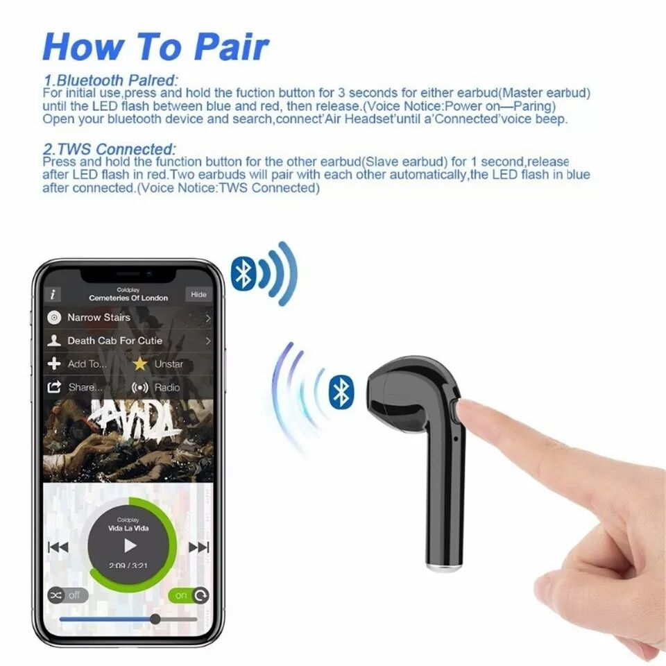 New Bluetooth Wireless Earbuds W Charging Box Sports Iphone Android Samsung Bluetooth Earbuds Wireless Wireless Earphones Earbuds
