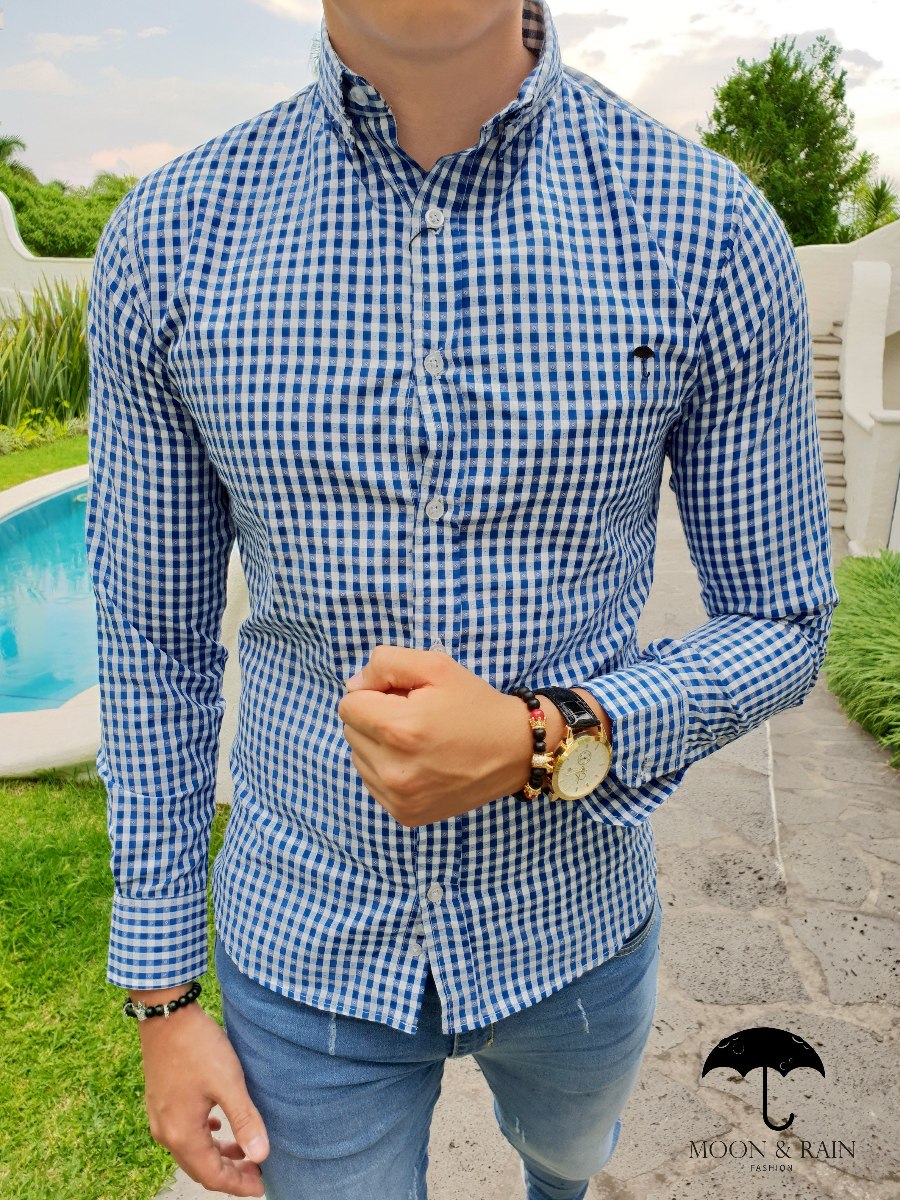 ... camisa slim fit de mini azul cielo y blanco con puntos en manga larga 7451aa95147e5