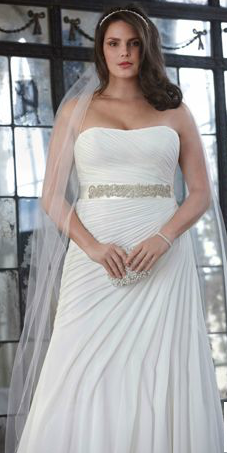 Crinkle Chiffon Gown With Asymmetrical D David S Bridal Mobile