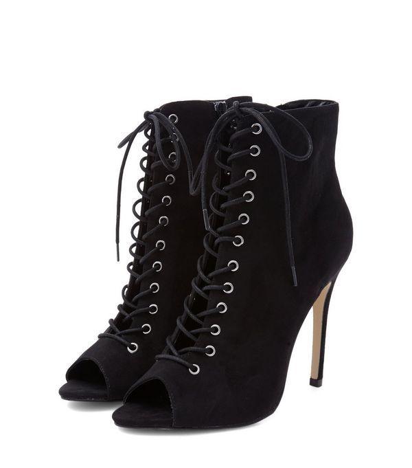 a532715fbe11c Black Suedette Peep Toe Ghillie Heels   New Look   I WEAR BLACK ...