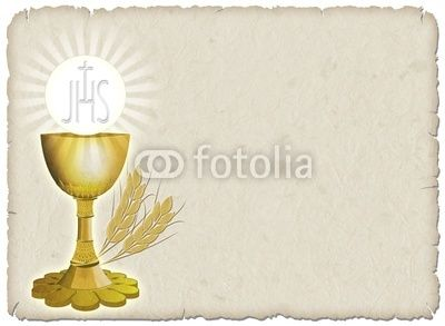 ☆SOLD!☆ #Religion #Golden #Cup, #Corn and #Host on #Vintage #paper #Card © bluedarkat  http://us.fotolia.com/id/20748856#