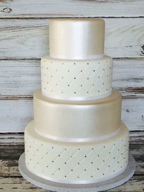 Four Tier Quilted Fondant Wedding Cake Fake by SUGARonTOPsugarart ... : quilted fondant - Adamdwight.com
