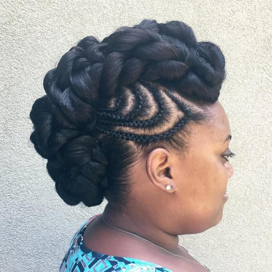 Black mohawk updo with braided designs blackhairstyles black