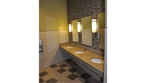 A Commercial Bathroom Featuring Daltile Fabrique Colorbody Porcelain In Gris Linen And Creme Linen Http Lighted Bathroom Mirror Porcelain Tile Porcelain