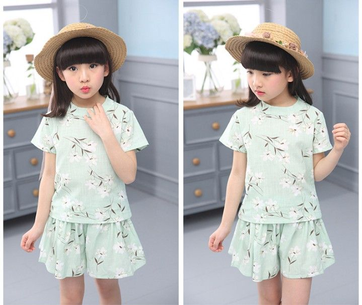 CH03694 Printing sweet girl summer Korean style tops 2pcs set