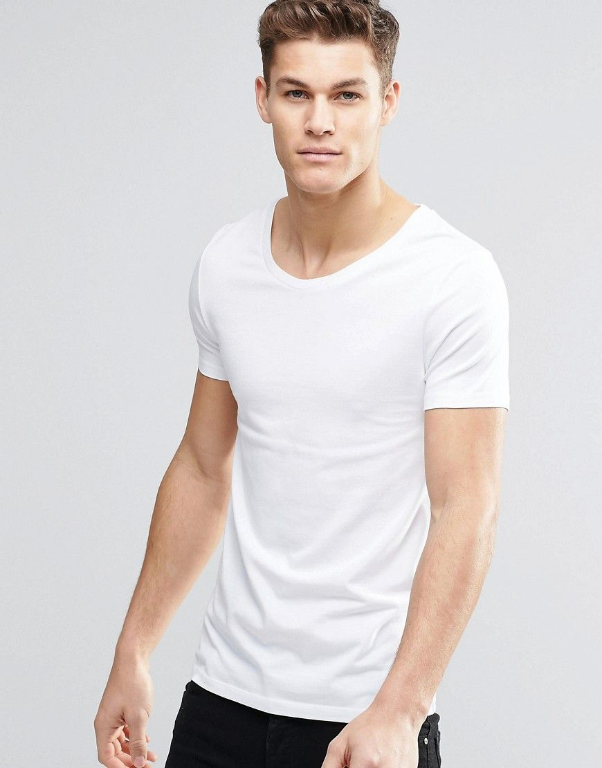 c4292132 ASOS Muscle Fit T-Shirt With Scoop Neck And Stretch In White Perfect shirt  for any occasion.