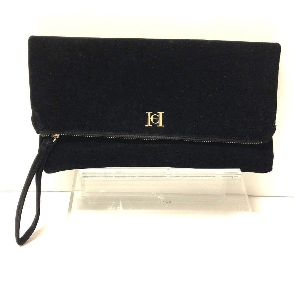 ea892dbf594f Carolina Herrera Good Girl Black Velvet Clutch Handbag Purse ...