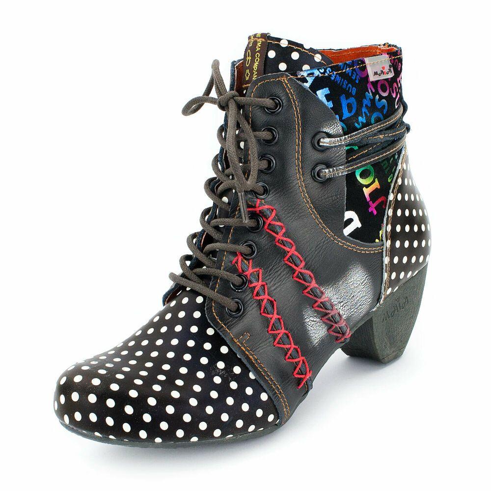 ▻ TMA Damen Stiefeletten, Echt Leder, Schuhe, Stiefel