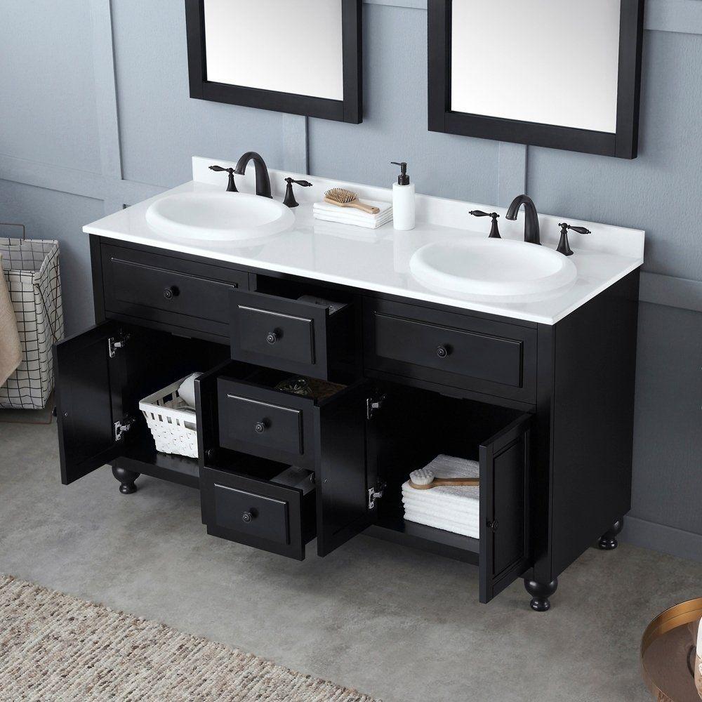 Ove Decors Kensington 60 In Black Double Sink Bathroom Vanity With