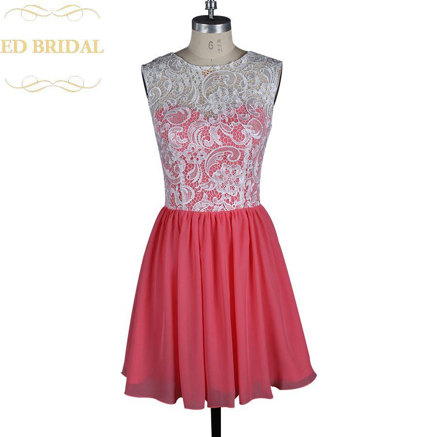 Two tone ivory venice lace coral chiffon short bridesmaid dress maid