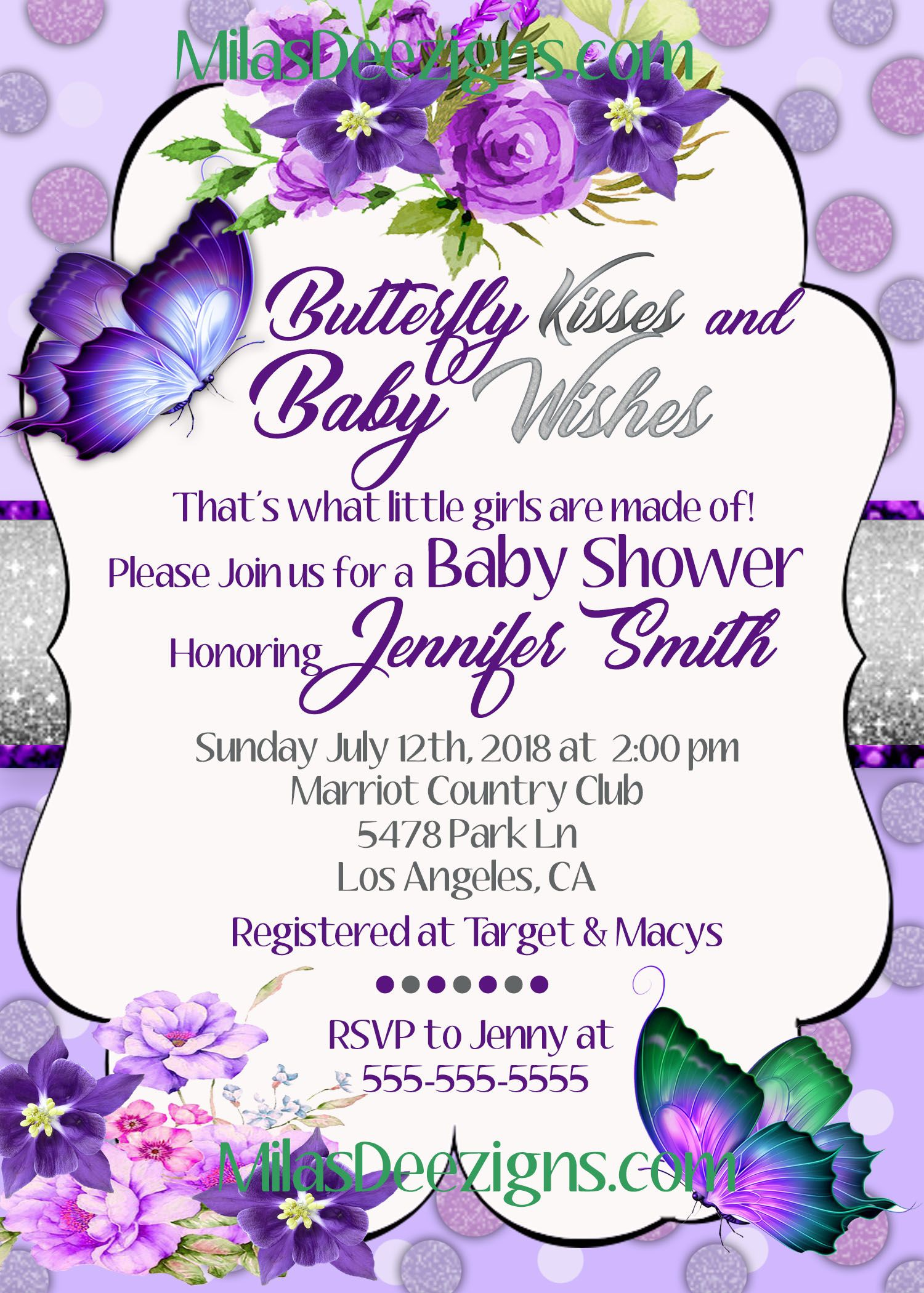 Purple Butterfly Baby Shower invitations,Butterfly Kisses Birthday ...