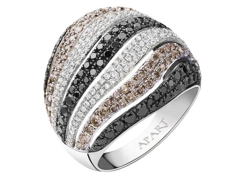 Pierscionek Z Bialego Zlota Z Brylantami Diamenty Brylanty Pierscionki Zareczynowe Apart White Gold Rings Jewelry White Gold