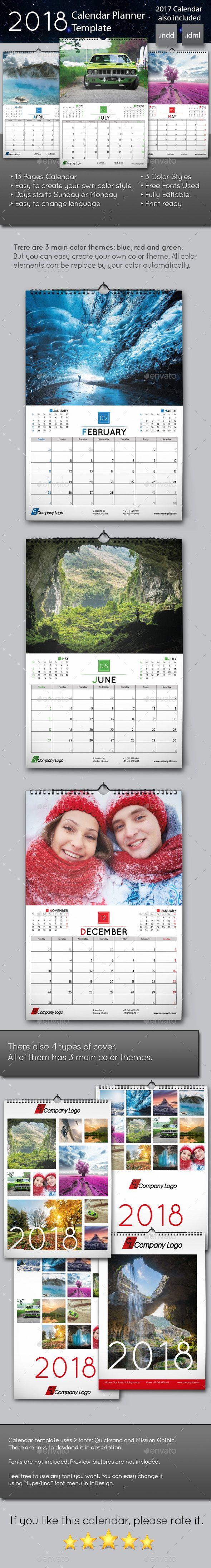 Wall Calendar Planner Template  Planner Template Planners