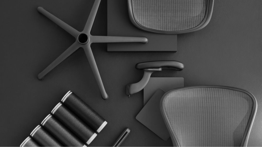 Elements of the new Aeron chair including materials and parts such ...