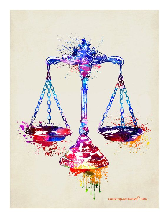 Lawyer Print Watercolor Scales Of Justice 85x11 Attorney