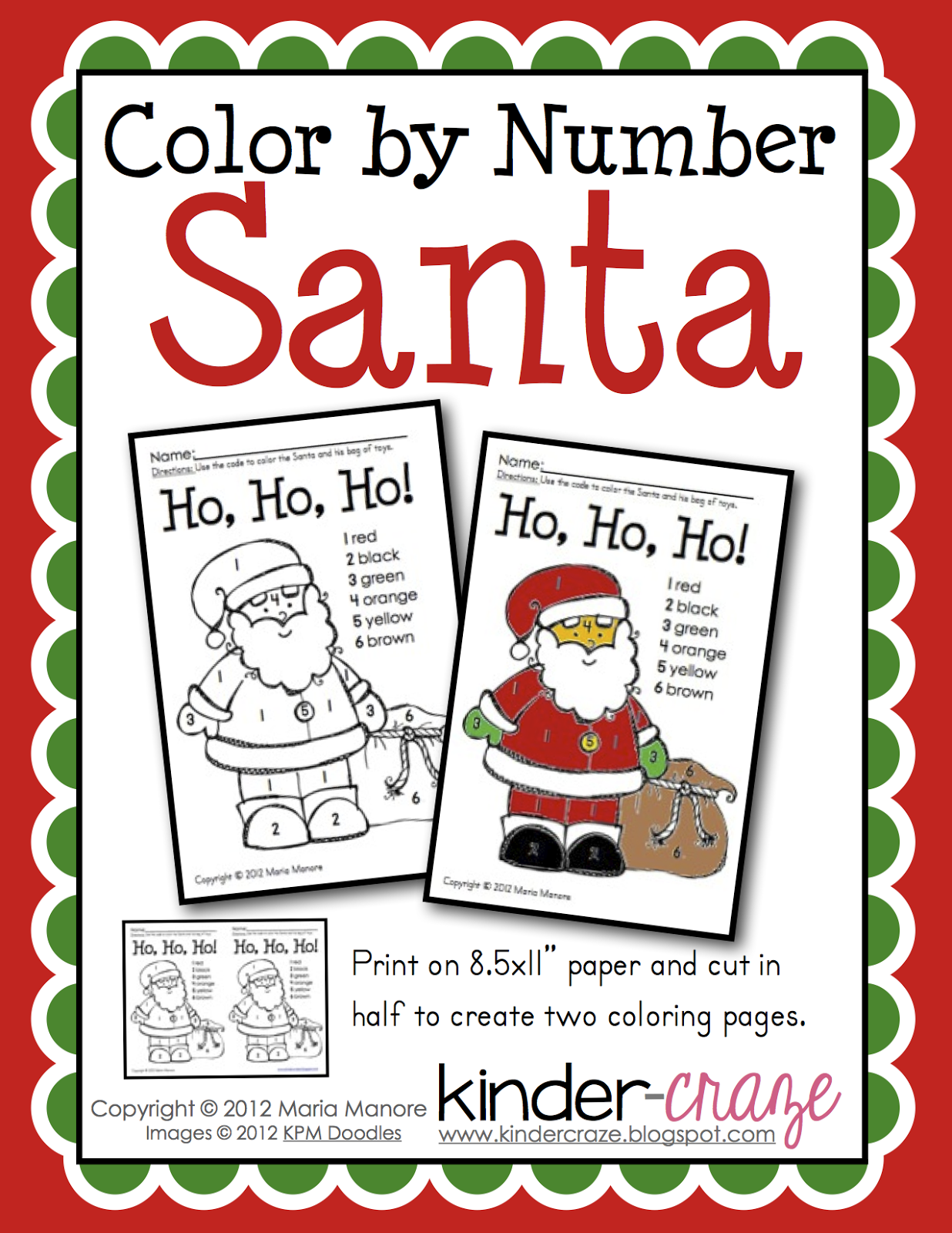 Santa Color by Number | Pinterest | Free coloring, Number and ...