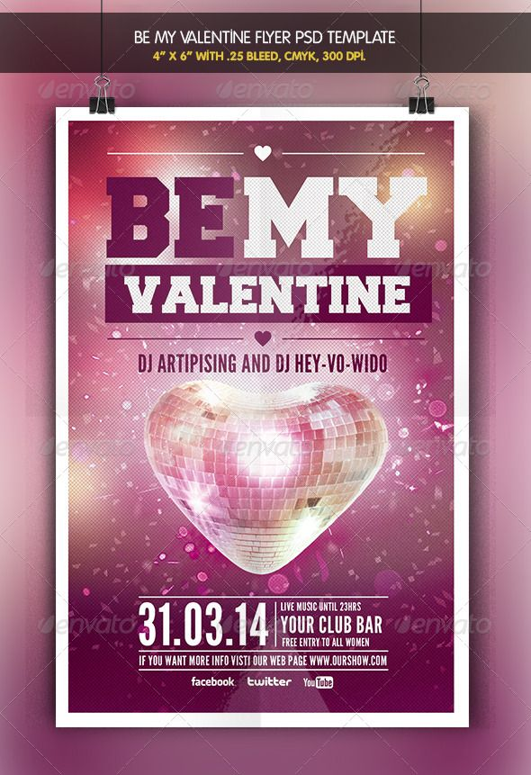 Be my Valentine Party Flyer Template Party flyer, Flyer template