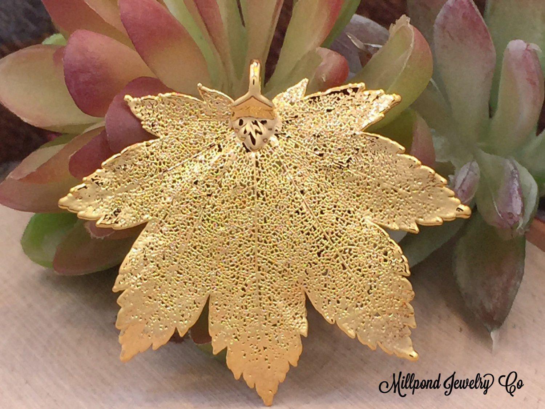 Full Moon Maple Leaf Pendant, Gold Maple Leaf Pendant, Gold Maple Leaf, Leaf Pendant, Nature Pendant, Large Leaf Pendant