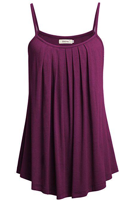 e2694b120096b9 BEPEI Women Summer Tanks, Cami Spaghetti Strap Tops Sexy Casual Shirts,Dark  Purple,Small ad