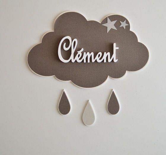 Plaque de porte nuage avec prenom bleu orageux etoiles Deco chambre bebe nuage
