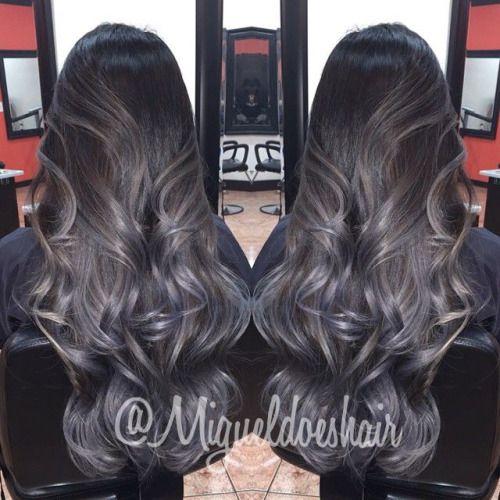 Black Blue Gray Balayage Hair Color Highlights Balayage Grey Ombre Hair Metallic Hair Ombre Hair Color