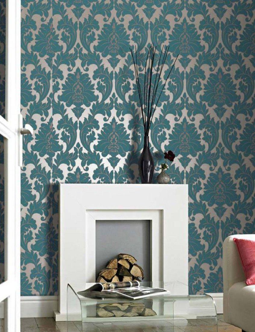 Samanta Pattern Wallpaper Quartos And Damasks ~ Papel De Parede Azul Tiffany Quarto