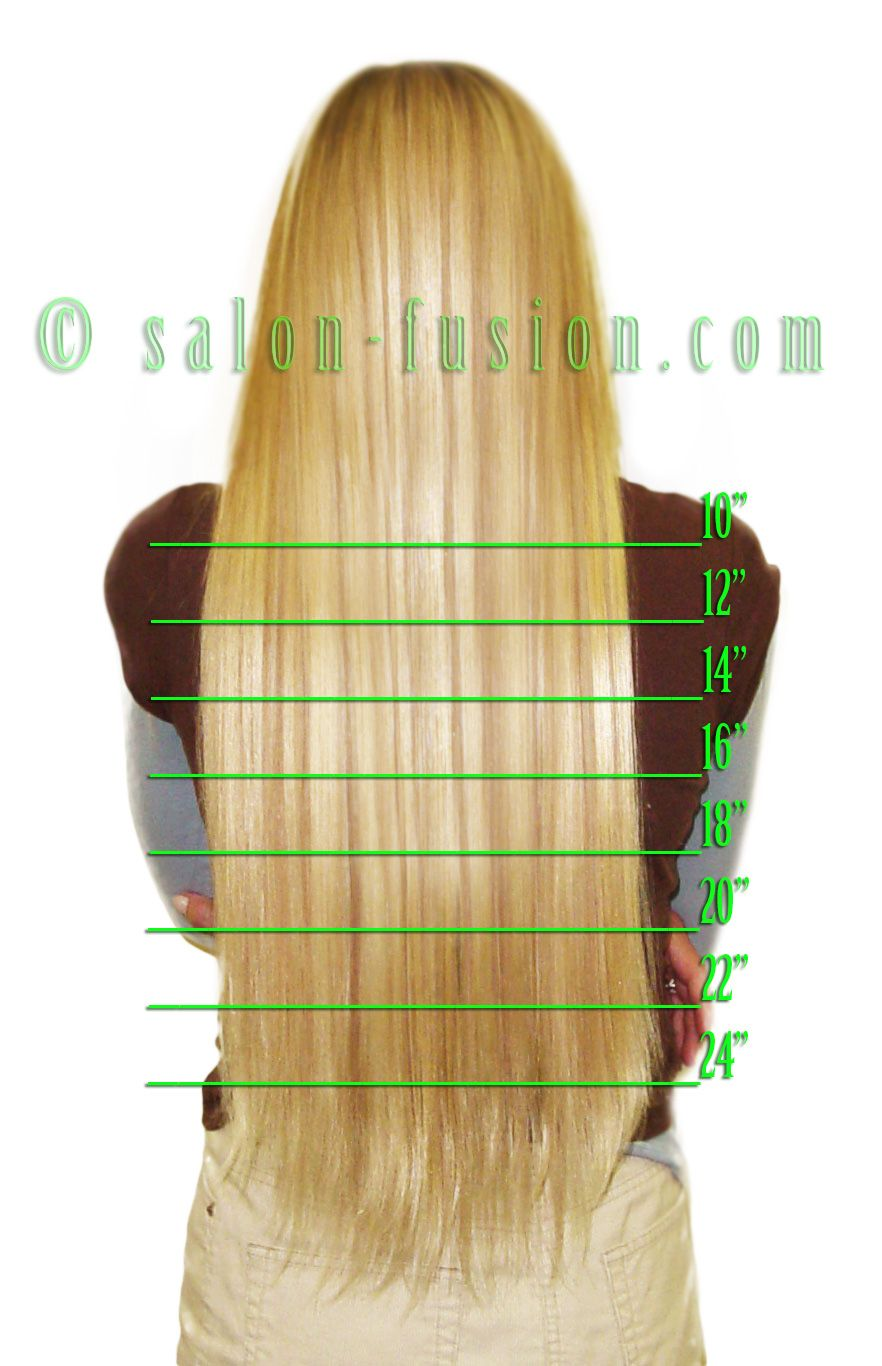 Hair Extension Length Chart Salon Fusion Hair Extensions
