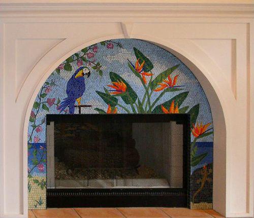 tropical fireplace surround tropical fireplaces and mosaics rh pinterest com