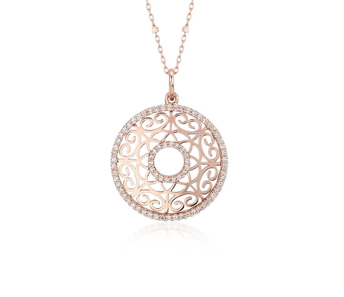 Laser cut diamond circle pendant in 14k rose gold 25 ct tw laser cut diamond circle pendant in 14k rose gold 25 ct tw aloadofball Image collections
