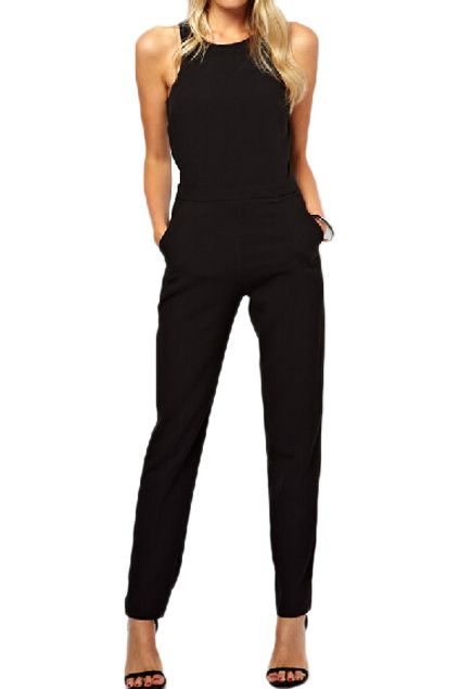 49b66187e18 abaday Cut-out Sleeveless Slim Black Jumpsuit - Fashion Clothing