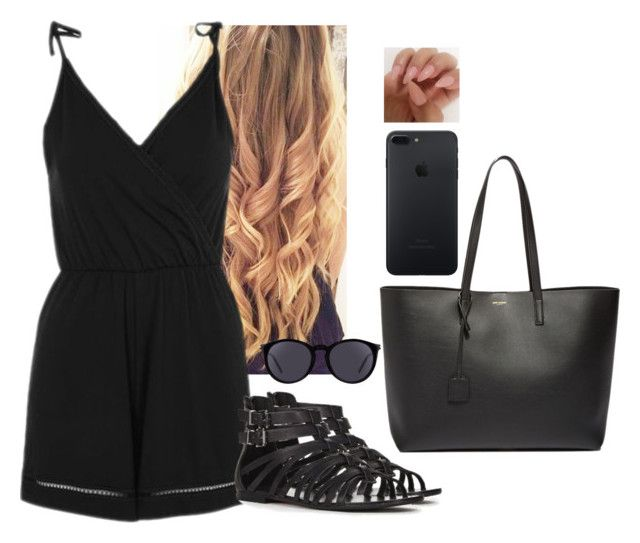 """""""Let's Just be fab❤️❤️"""" by hannahmcpherson12 ❤ liked on Polyvore featuring Topshop, Yves Saint Laurent and JustFab"""