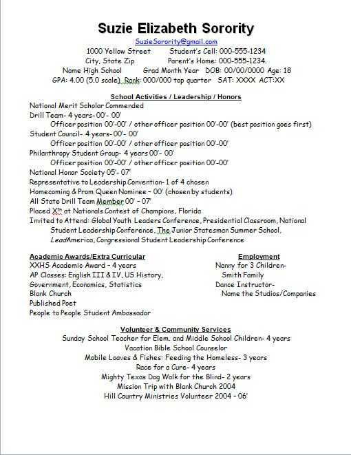 fraternity resume examples