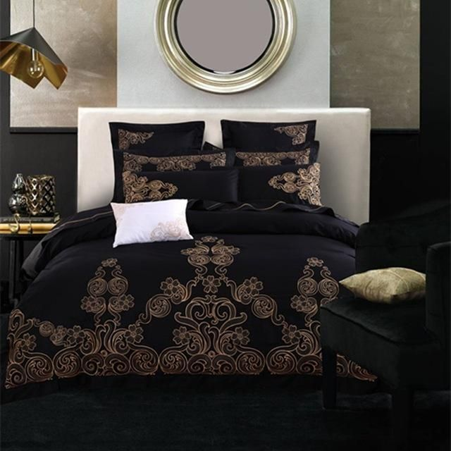 Luxury Embroidery Black Gothic Bedding Sets