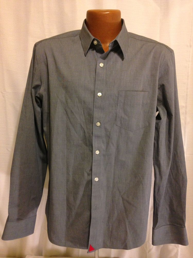 cc5756148 Untuckit Slim Fit Wrinkle Free Mens Blue Long Sleeve Button Down Shirt  Large  UNTUCKit
