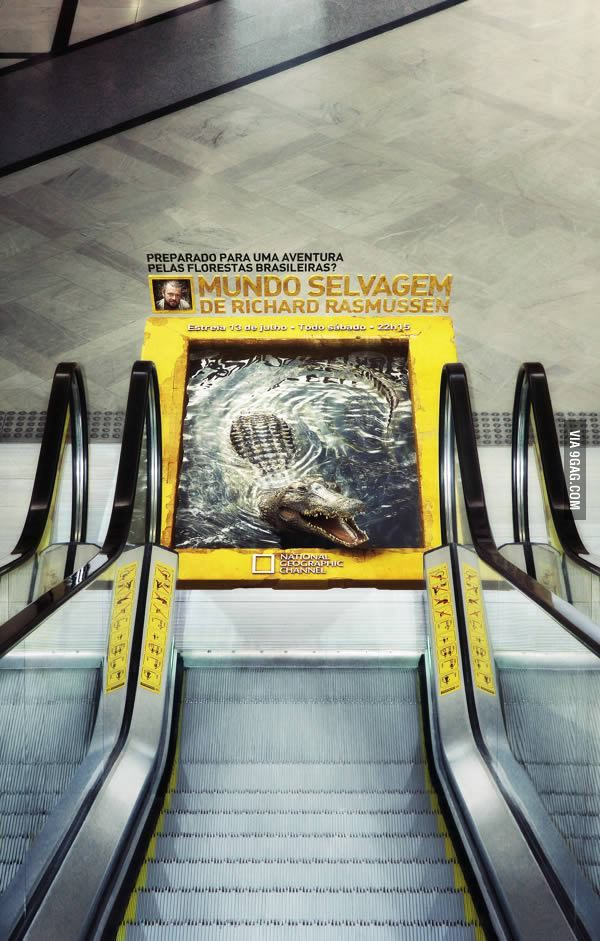 e5adc30c1d Awesome escalator ad for National Geographic. 3-D Imaging can lend itself to  all kinds of step down ads!